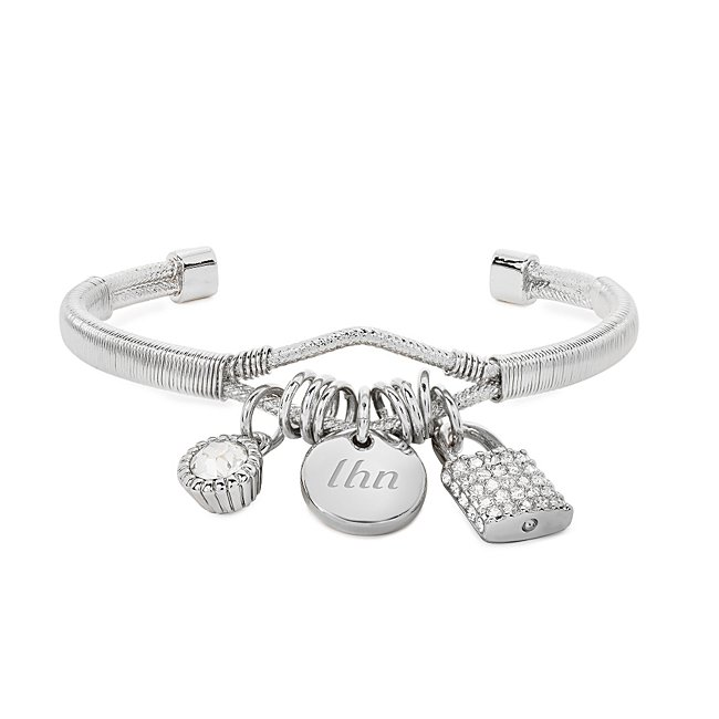 Silver Pave Lock Charm...