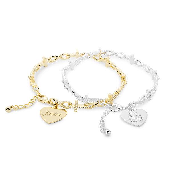 Infinity And Cross Crystal Link Bracelets