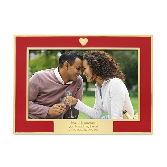 Gold Heart & Red Enamel Frame