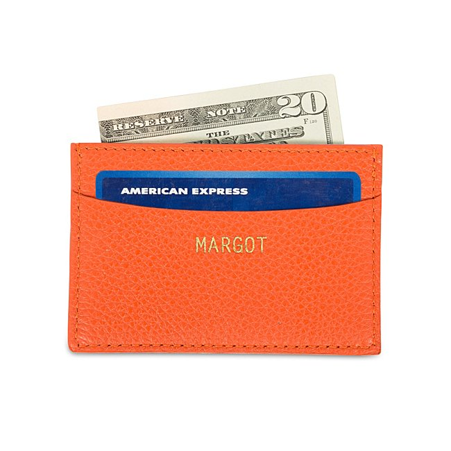 Orange Leather Slim Card...