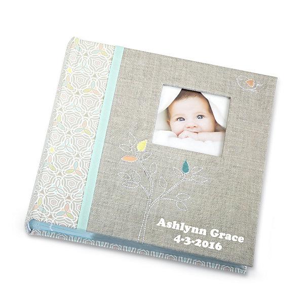 Linen Embroidered Baby Photo Album