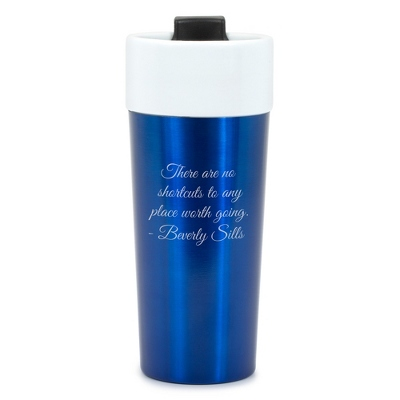 Blue Stainless Steel and Ceramic 16 oz. Travel Mugs