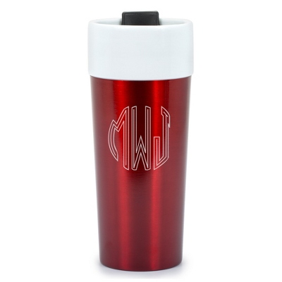 Red Stainless Steel and Ceramic 16 oz. Travel Mugs