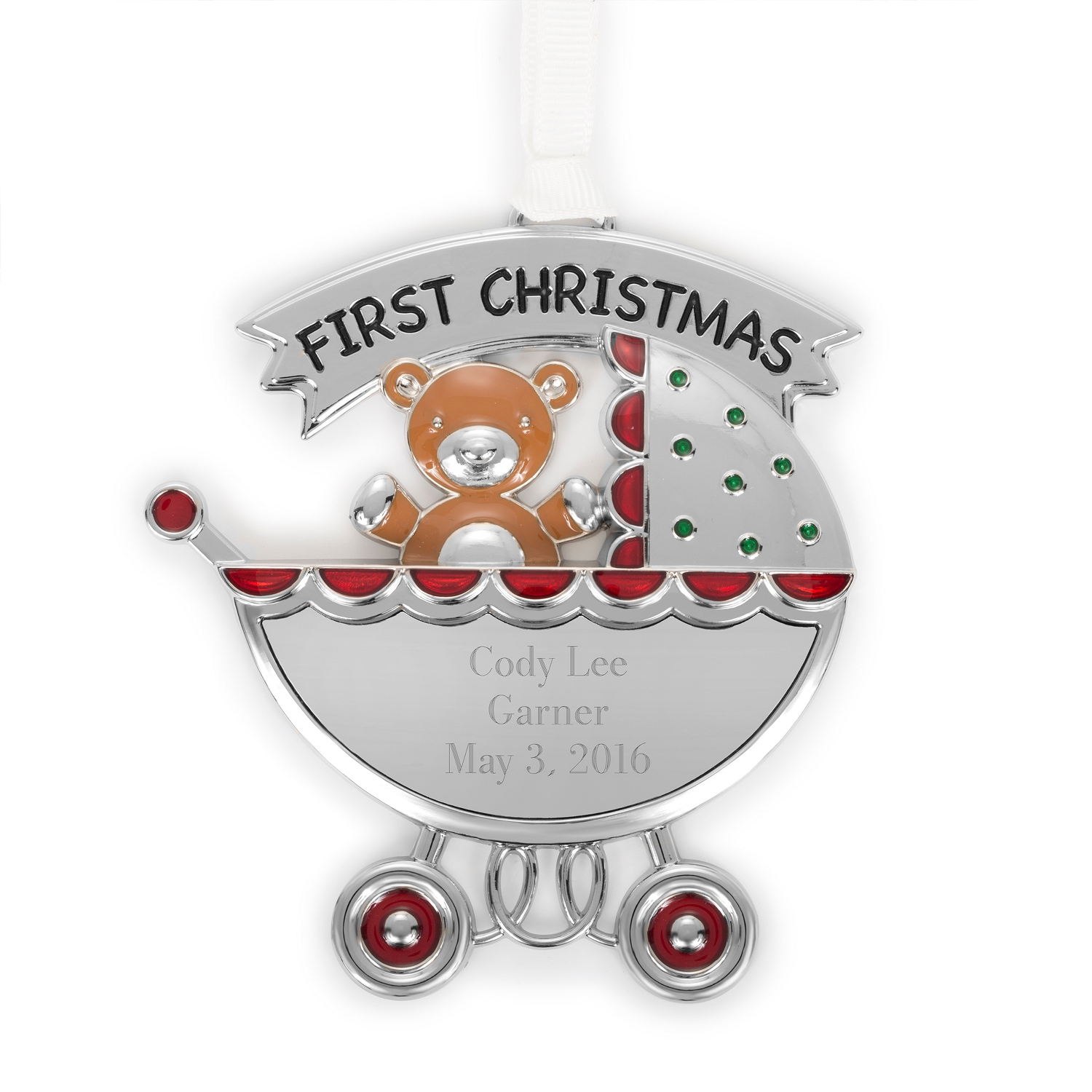 Baby ornament - Baby First Christmas Carriage Ornament