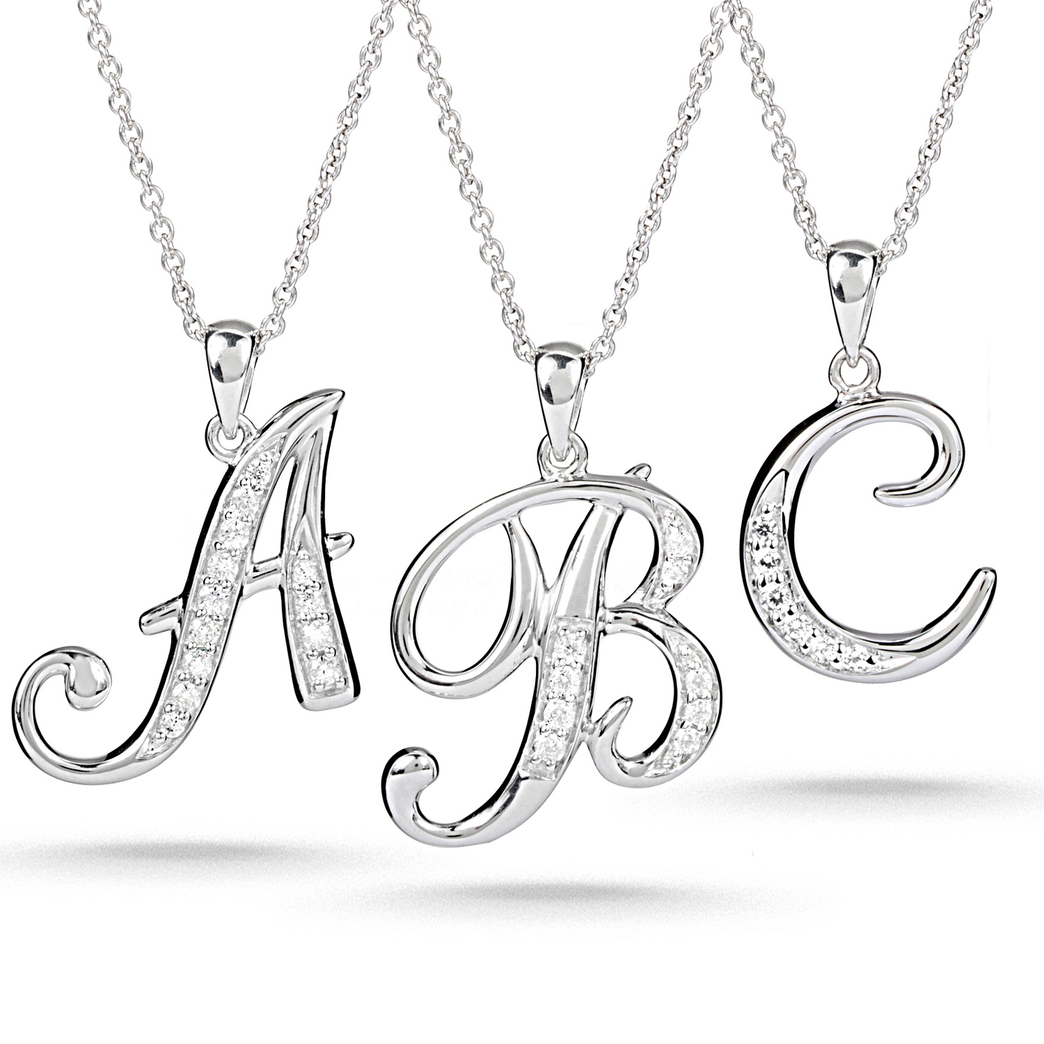 Sterling silver script initial necklace aloadofball Gallery
