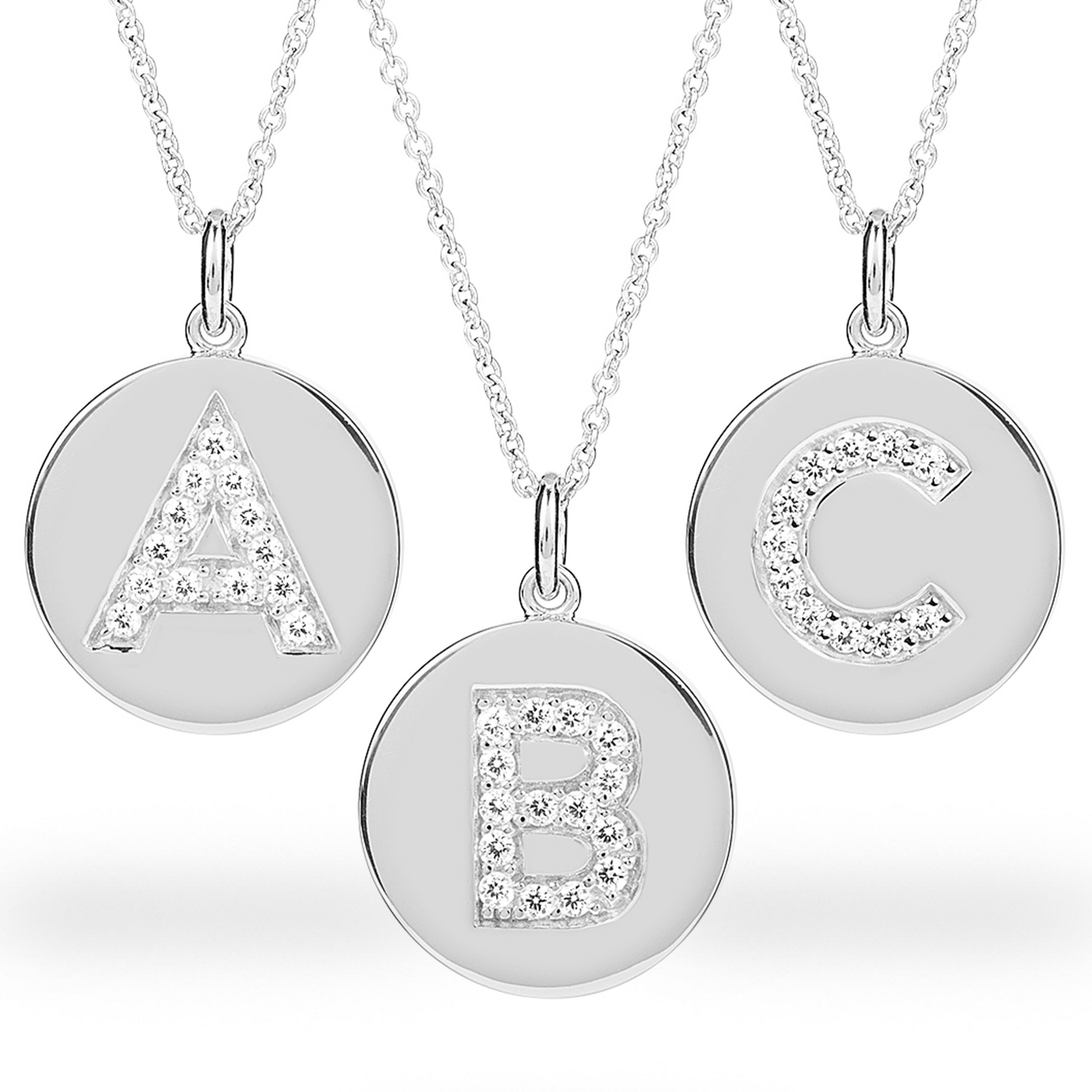 Sterling silver disc initial necklace with keepsake box mozeypictures Image collections