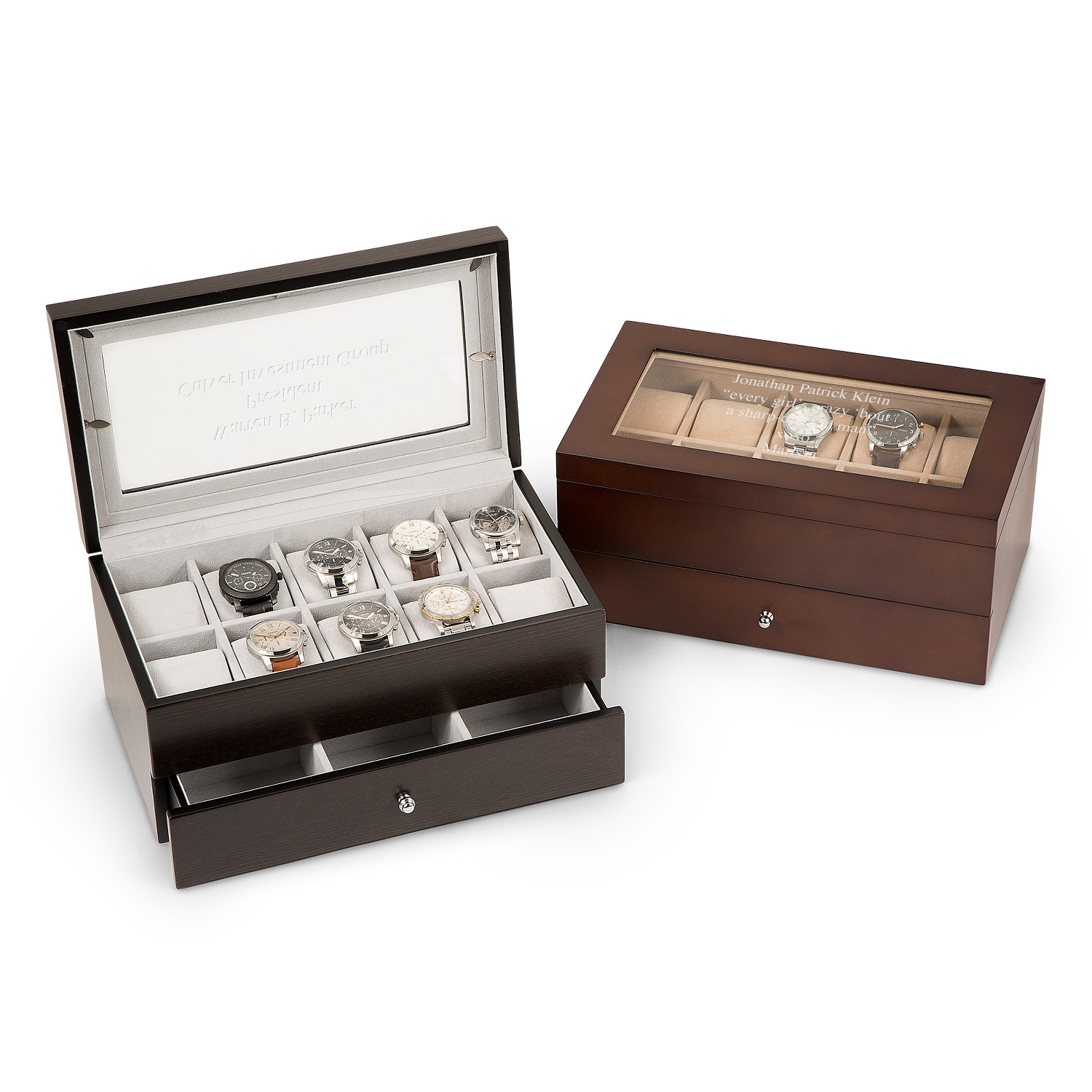 Extra large wood jewelry and watch box for Things remembered jewelry box