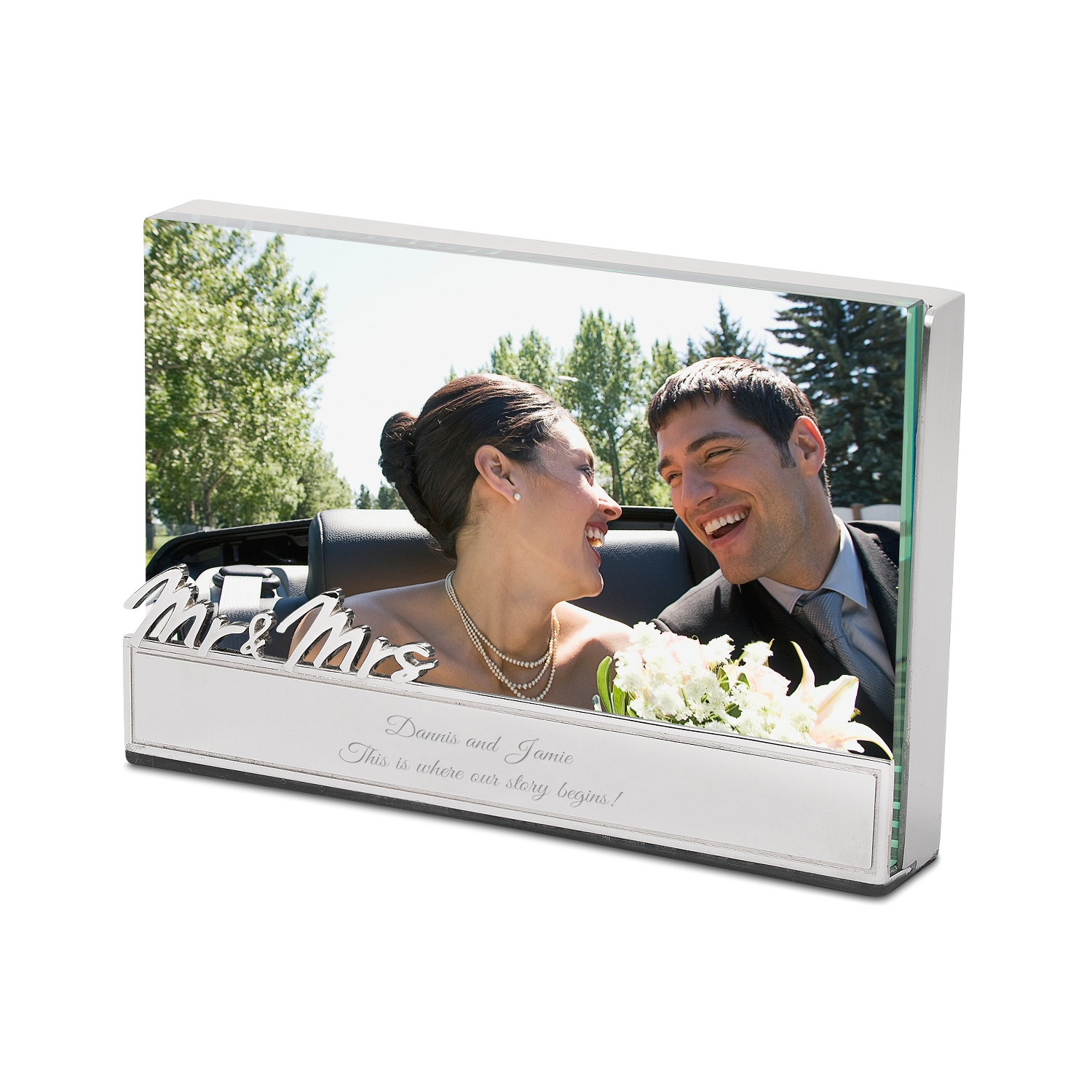 Mr and Mrs Glass Block Floating Frame