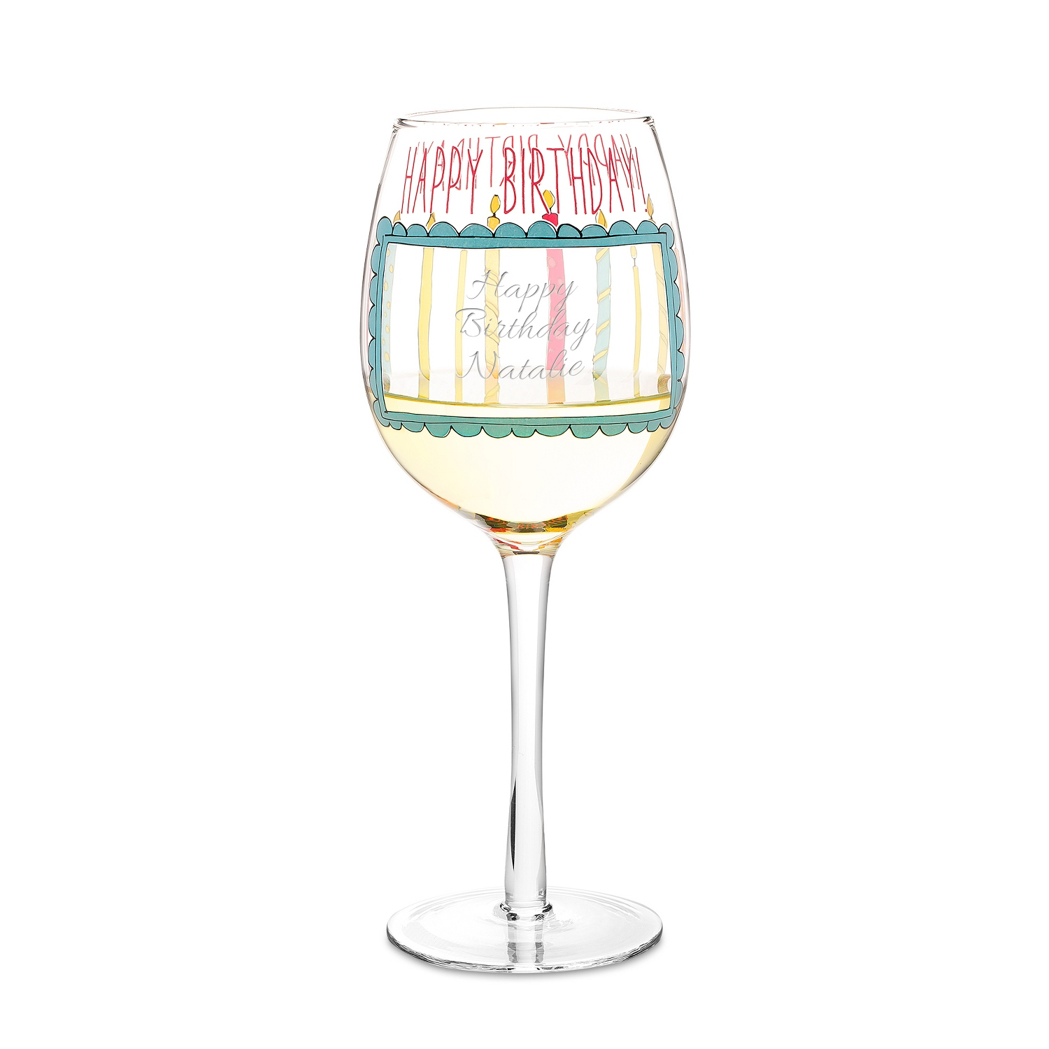 Birthday Candles Wine Glass