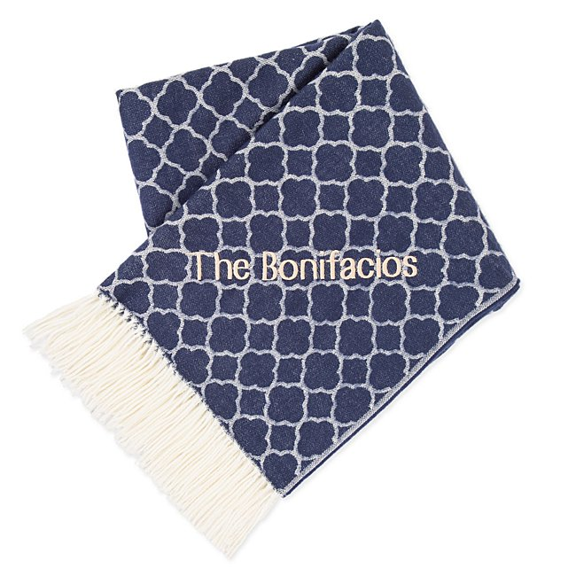 Navy Lattice Home Throw...