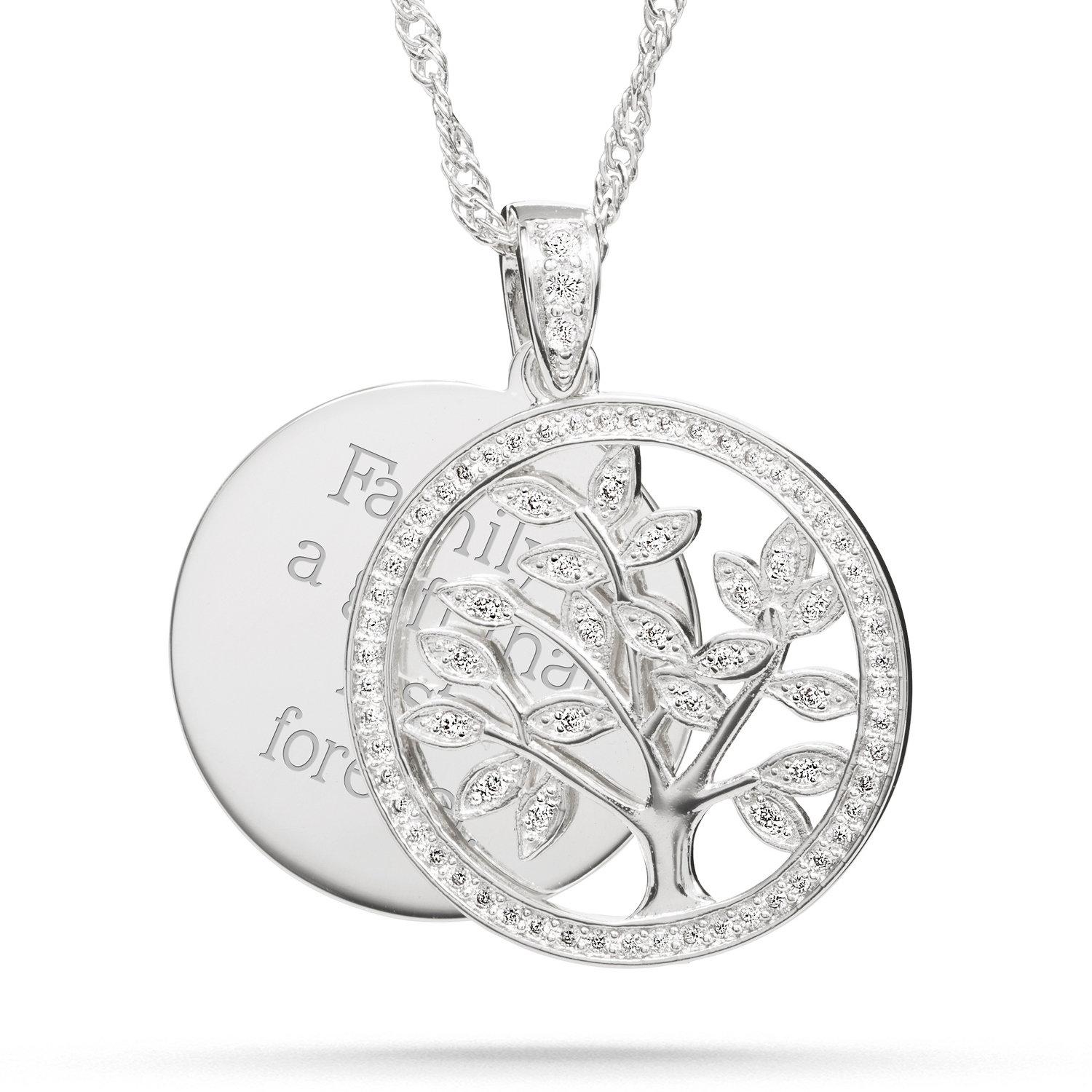 pendant personalised silver asp name plated family necklace tree engraved p