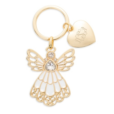 Gold and Cream Enamel Angel Key Chain