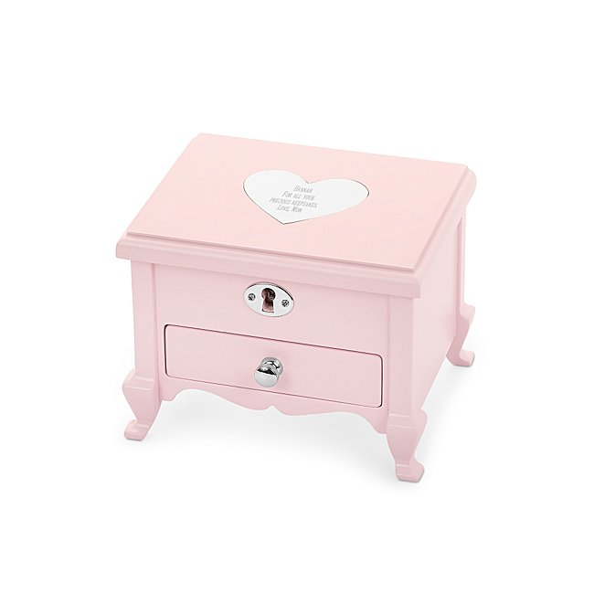 "Our personalized Girl's Footed Musical Jewelry Box is the perfect gift for the special little girl in your life. With plenty of space for jewelry and keepsakes, this jewelry box will be there for her for years to come. Wind up the key on the back of the box to ready a song for the ballerina to dance to when you open the box. Engrave the heart-shaped engraving plate on the top with that special girls name. - W: 5.94 inches x L: 5 inches x H: 4.63 inches - Key and lock included - Great personalized gift for daughter, niece, granddaughter, birthday or just because "". Pink Girls Footed Musical Jewelry Box, Wood/Velvet, By Things Remembered."
