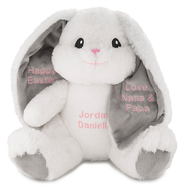 Baby Shower Personalized Bunny Rabbit Ears EMBROIDERED BUNNIES Gift. Bunny Rabbits Birthday Easter