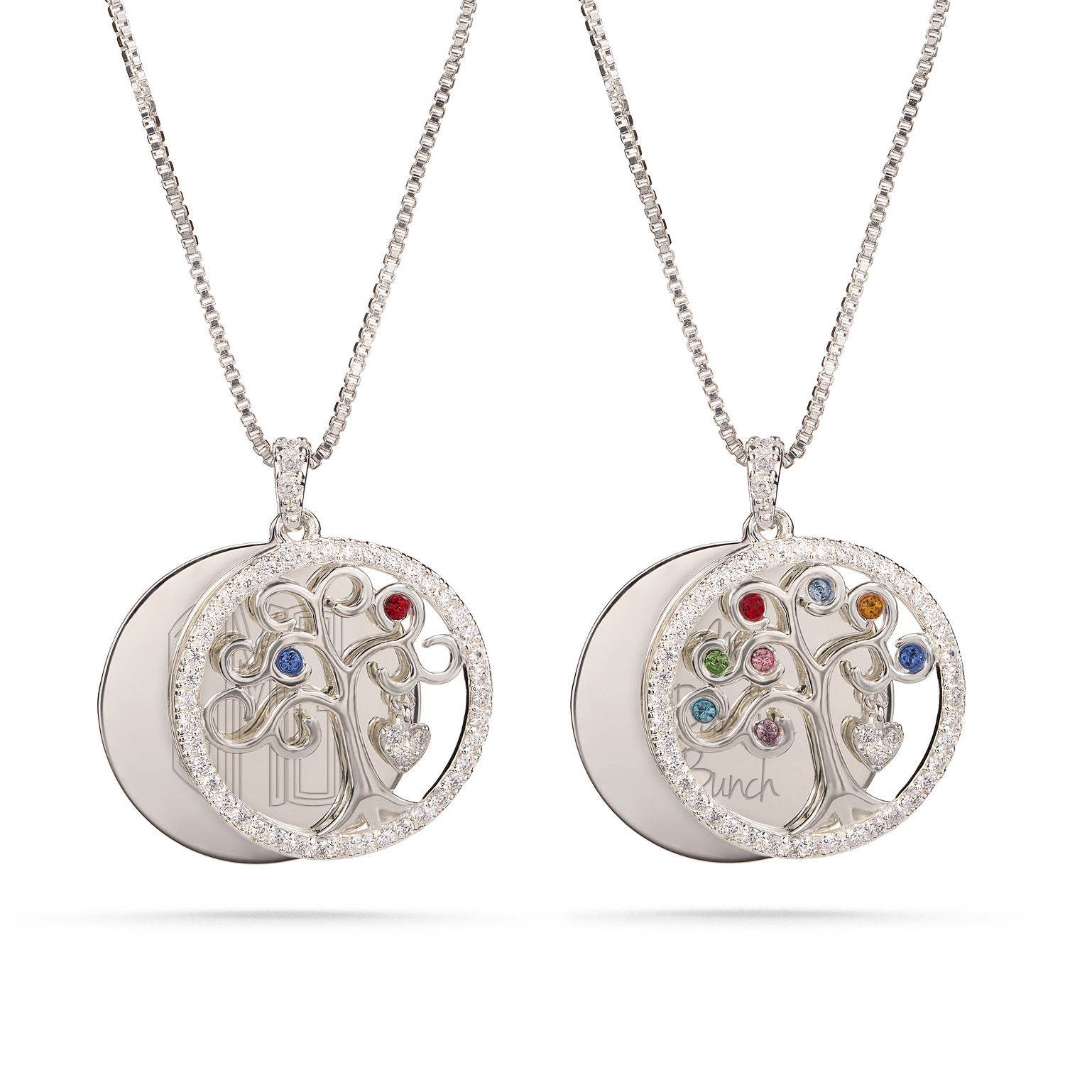 Sterling silver family tree pave birthstone necklaces aloadofball Choice Image