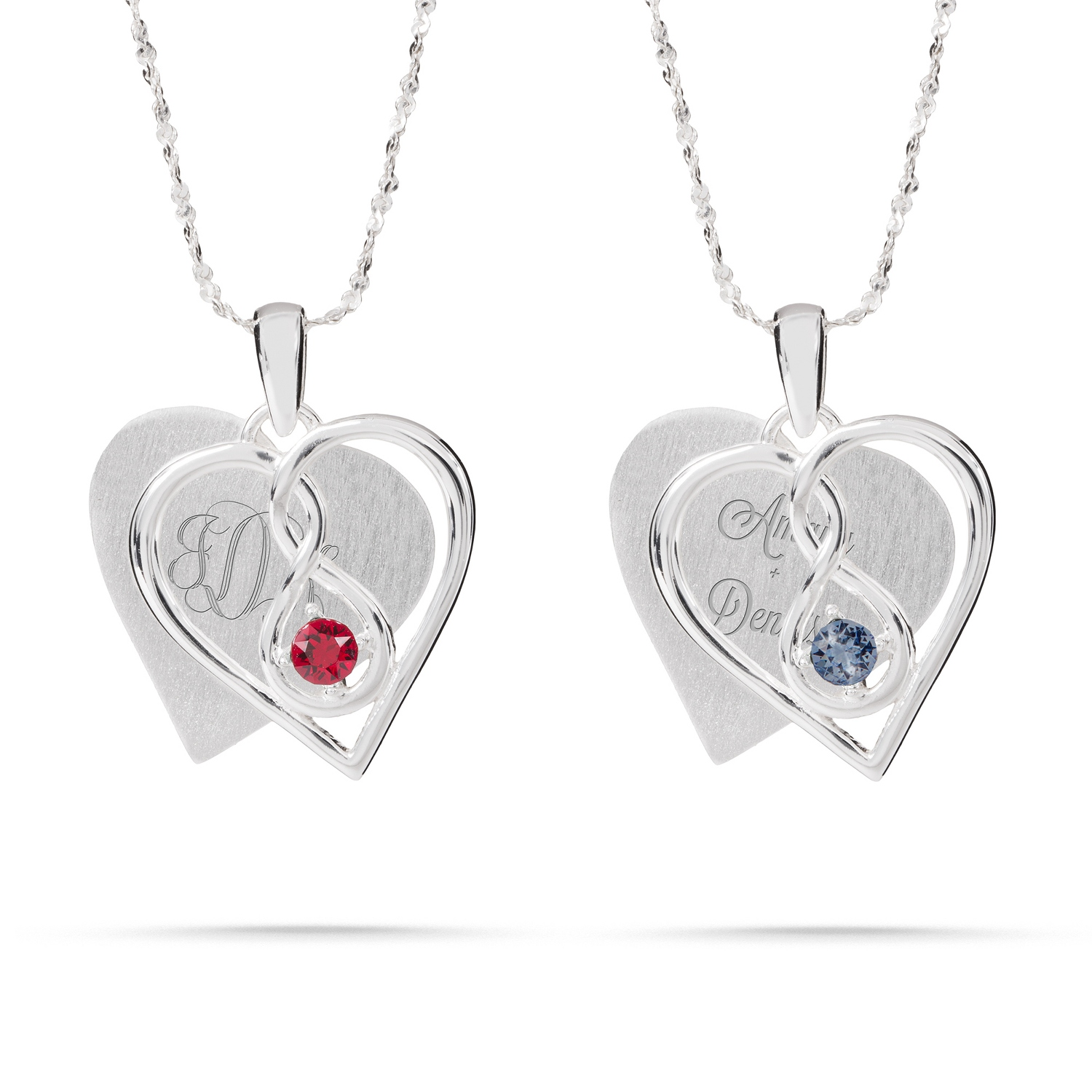 384267e171287 Sterling Silver Single Birthstone Infinity Heart Necklace