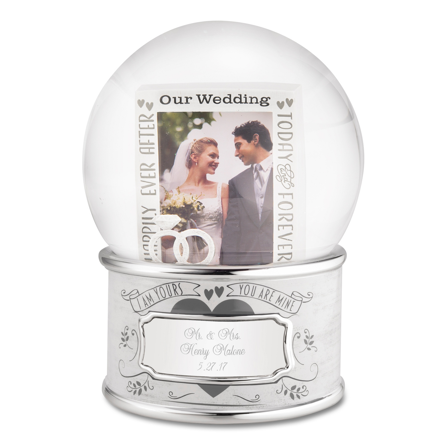 Our wedding frame musical snow globe junglespirit Image collections