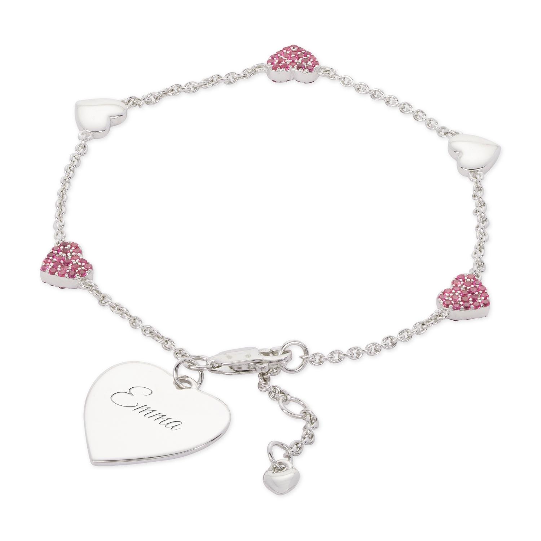 Sterling Silver Red Heart Bracelet