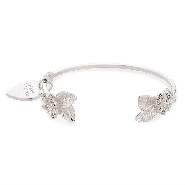 Silver Crystal Leaf Cuff...