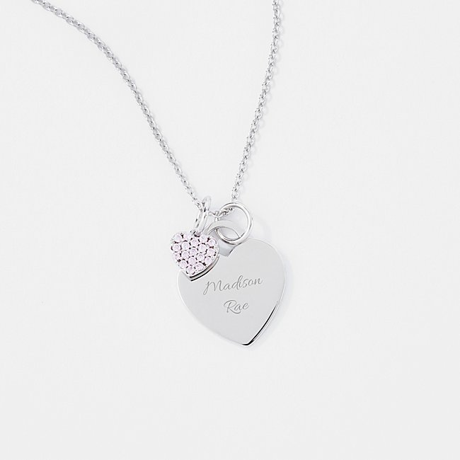 Girls Sterling Silver Heart Charm Necklace
