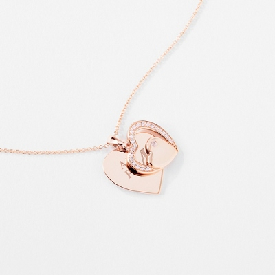 Gold Sterling Silver DoubleHeart Necklace