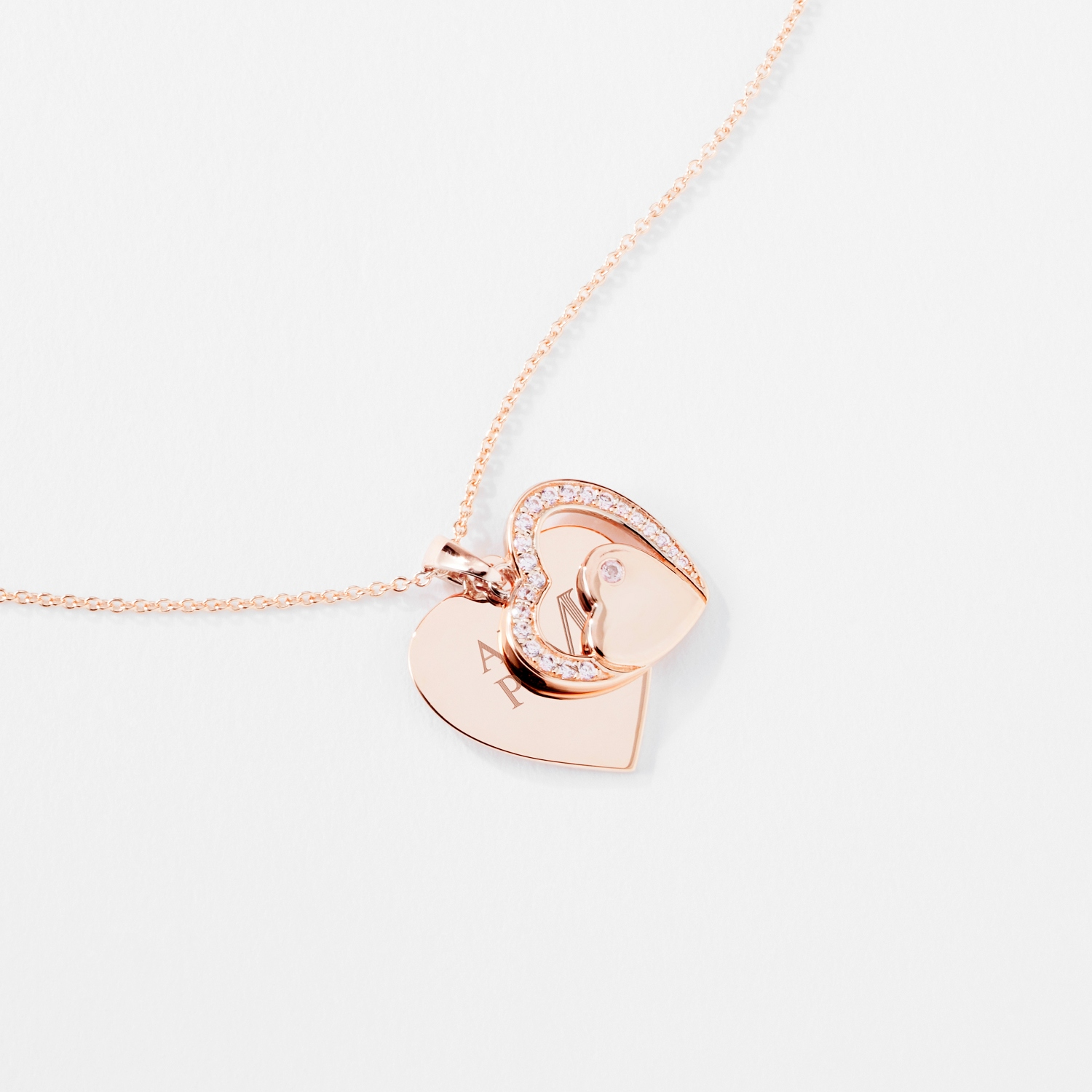 Gold Sterling Silver Double Heart Necklace
