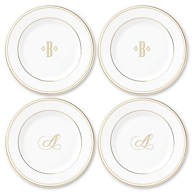 Lenox Monogram Gold Appetizer Plate Set Of Four, In White, White Bone China/Bone/Gold, By Things Remembered photo