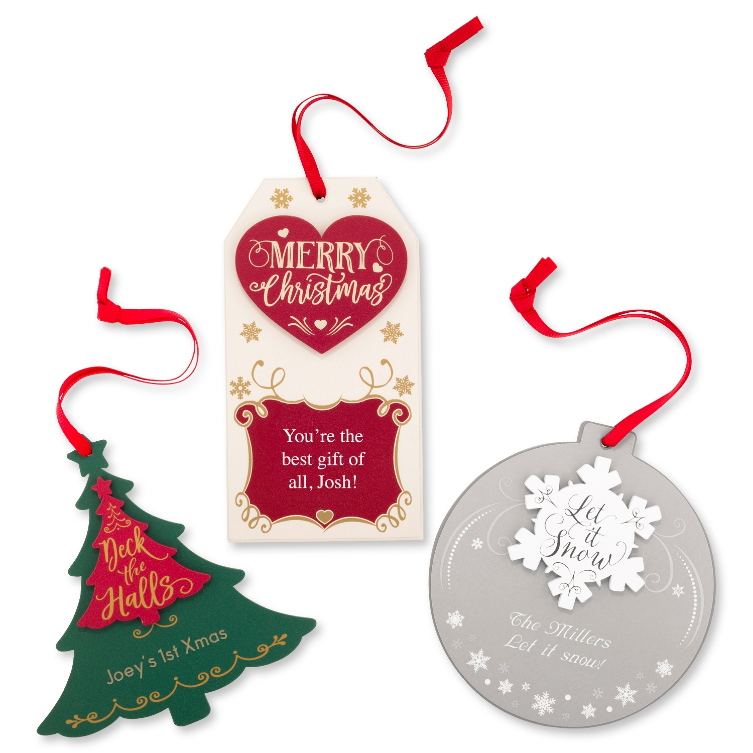 merry christmas gift tag ornament