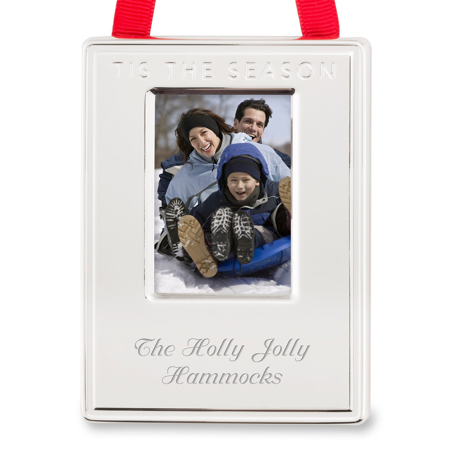 Silver Tis the Season Frame Ornament