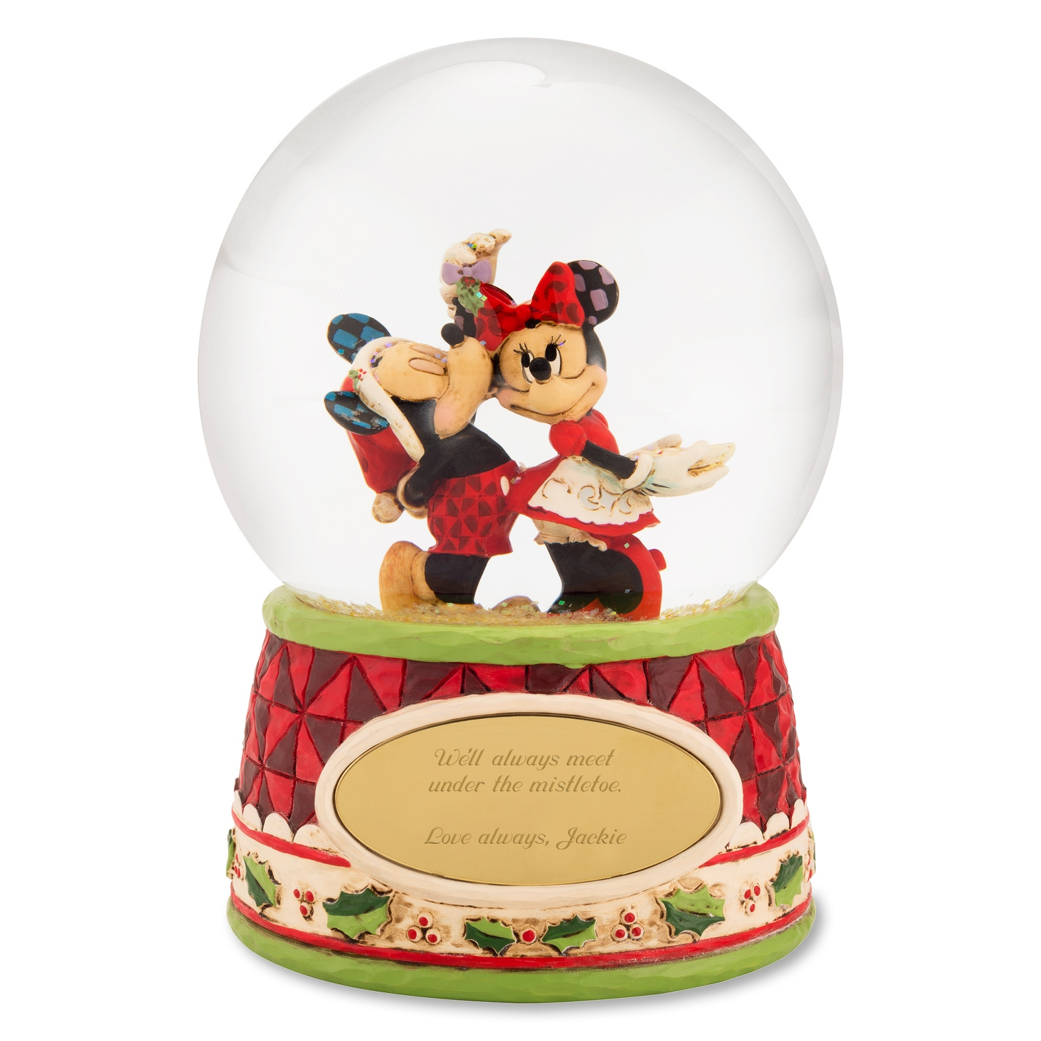 Personalized snow globes at things remembered jim shore mickey and minnie mistletoe snow globe negle Gallery