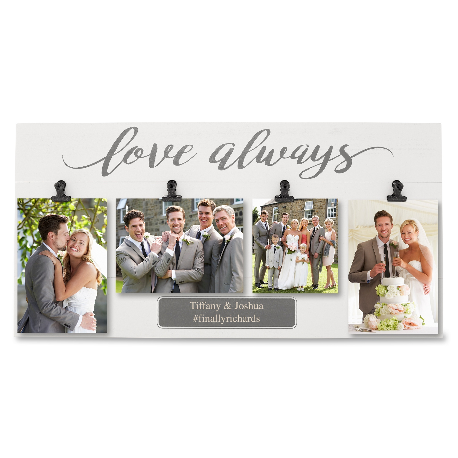 Personalized picture frames at things remembered grey love always four photo clip wall frame jeuxipadfo Image collections