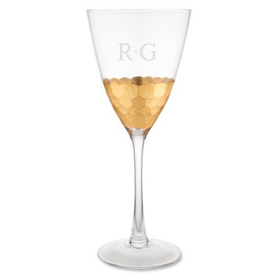 hammered gold base wine glass