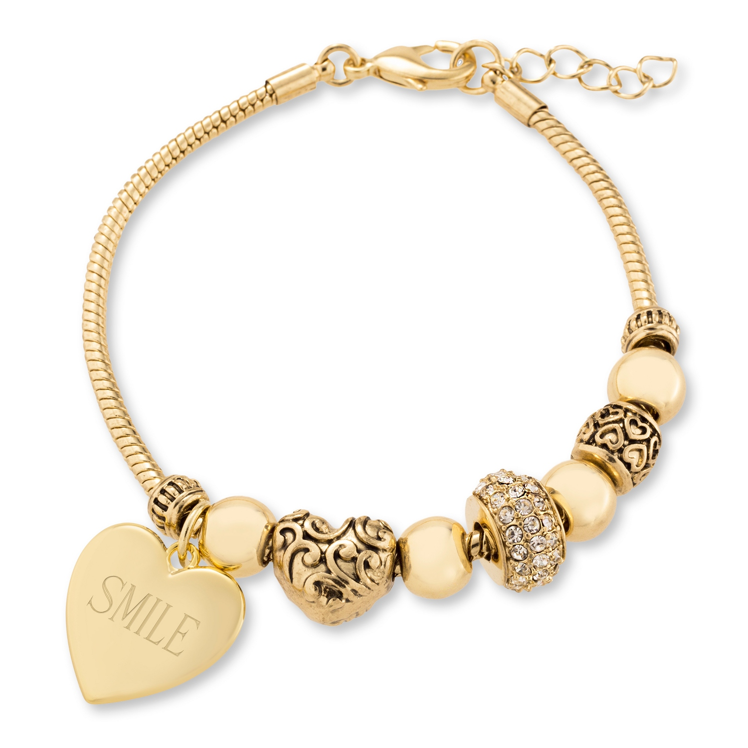 Stacked Accented Charms Bracelet