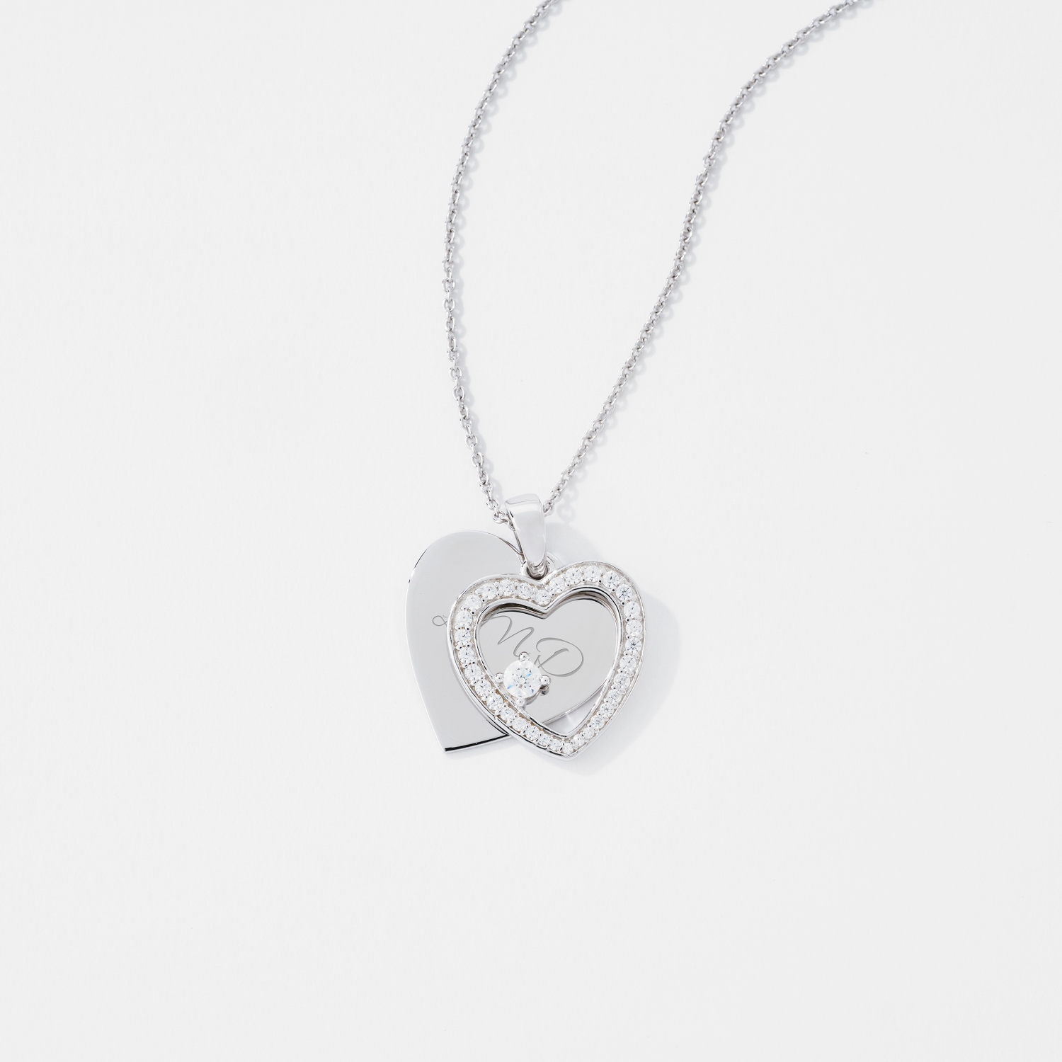shaped crystals pendant double necklace with heart from swarovski