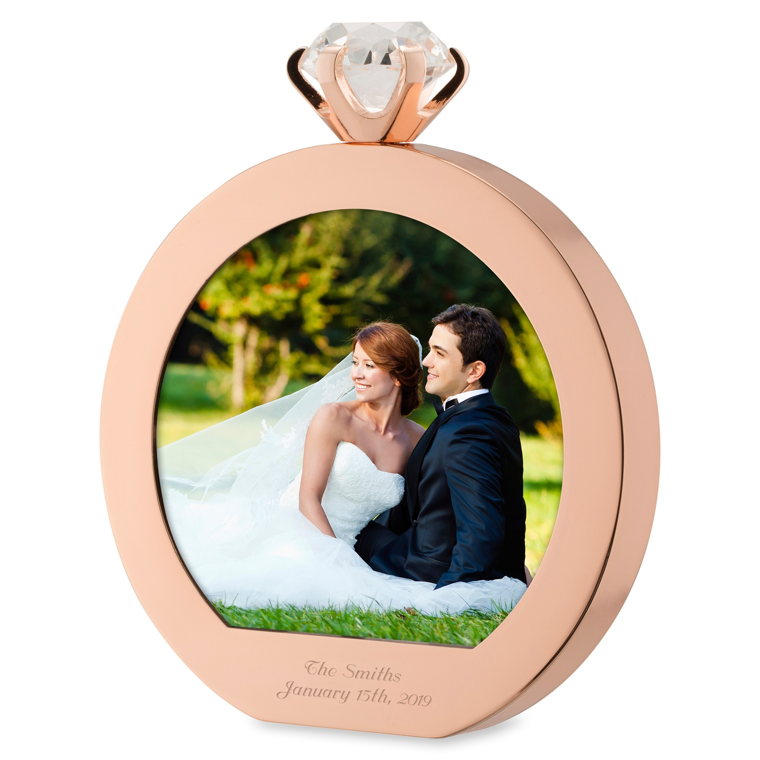 Wedding frames photo gifts at things remembered rose gold diamond ring frame jeuxipadfo Images
