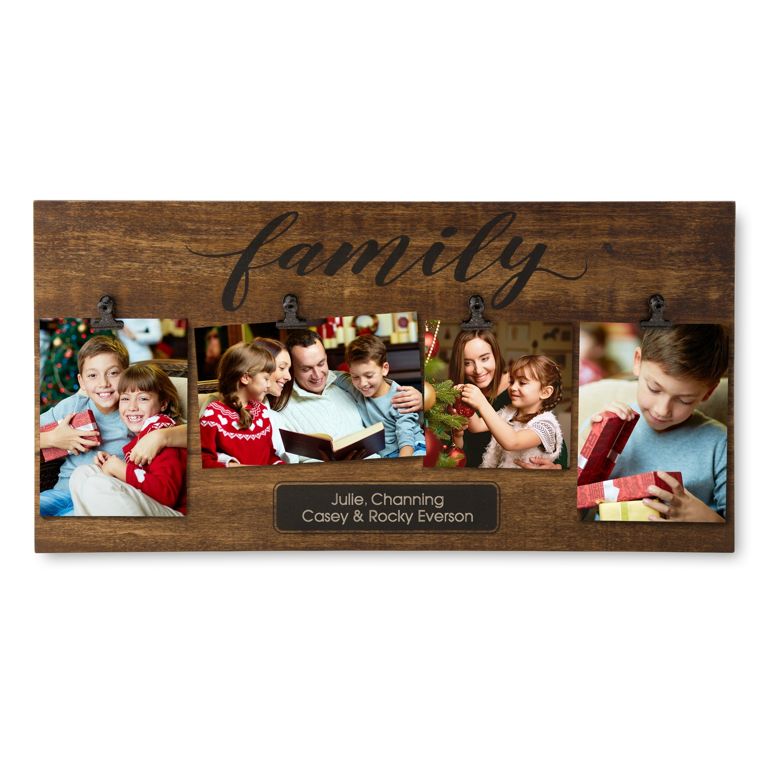 Personalized picture frames at things remembered family four photo clip wall frame jeuxipadfo Images