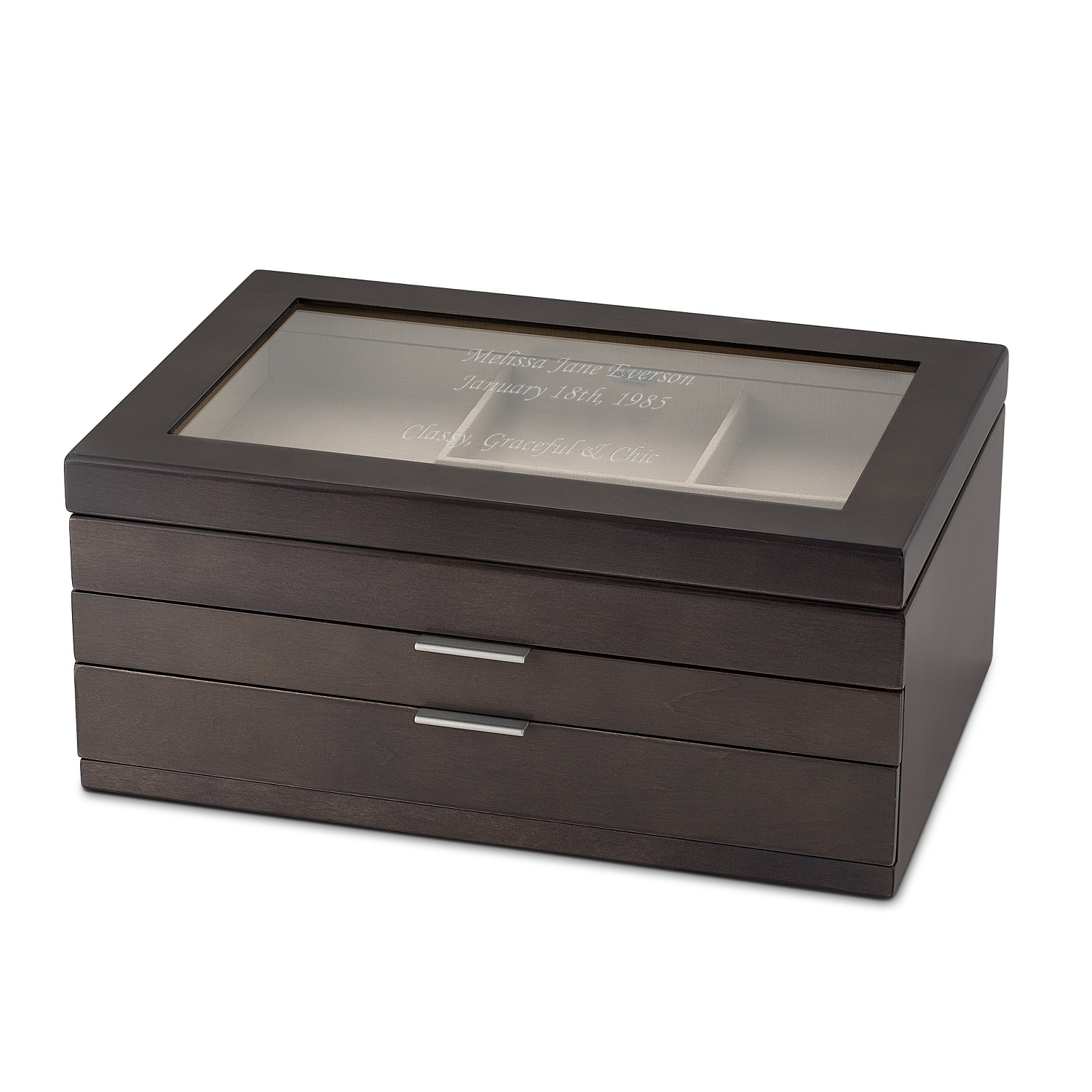 Mele and co misty oceanside grey finish wood jewelry box for Things remembered jewelry box