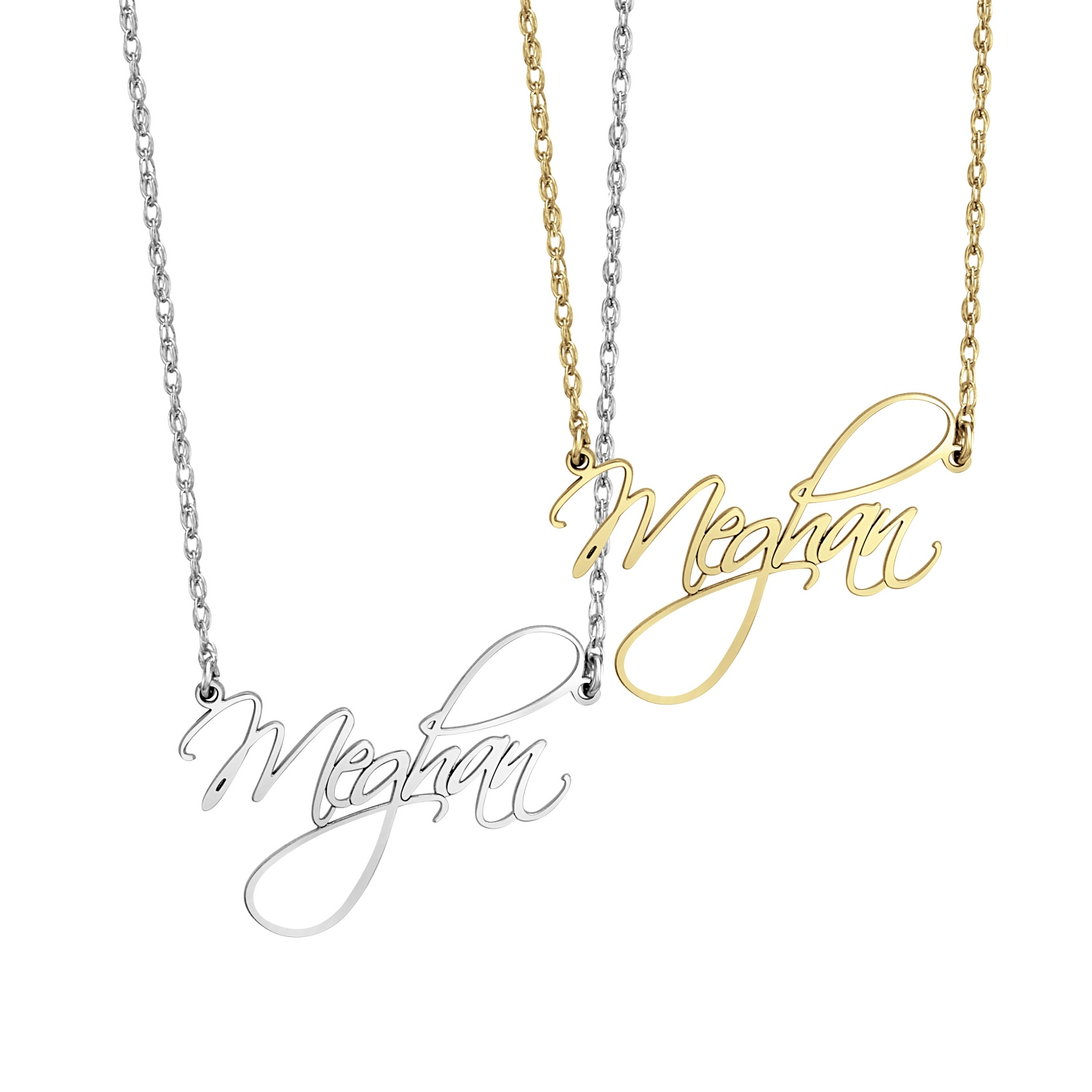 Alison and Ivy Sterling Silver Large Script Name Necklaces with Free Round...