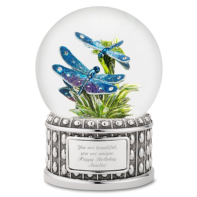 Image of Delightful Dragonfly Water Globe - Personalized