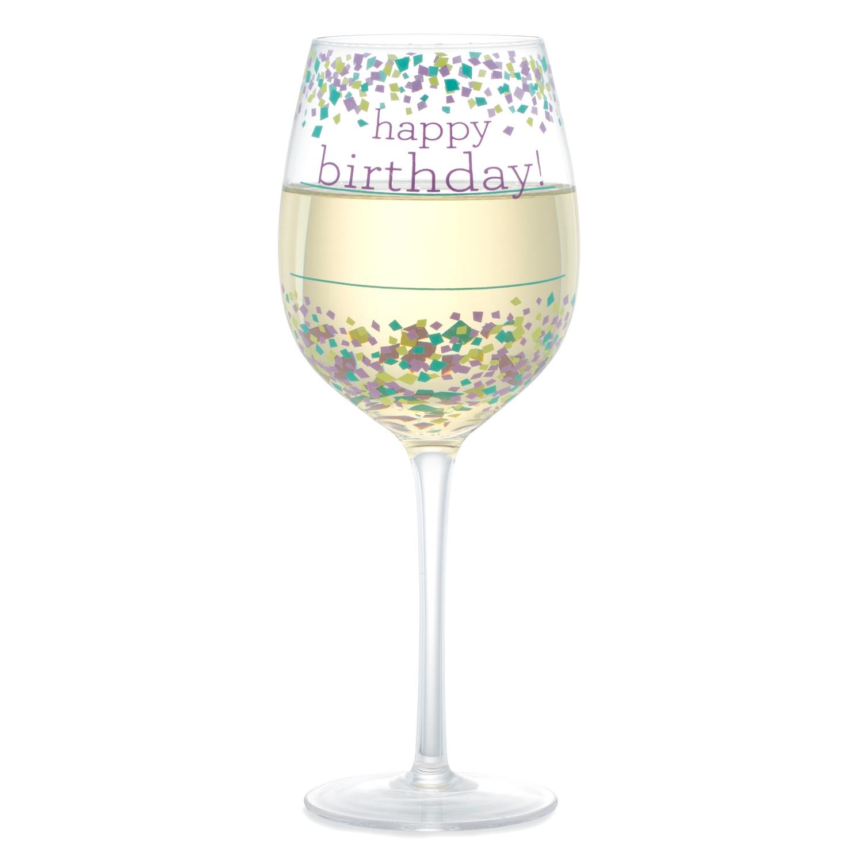 Happy Birthday Confetti Wine Glass