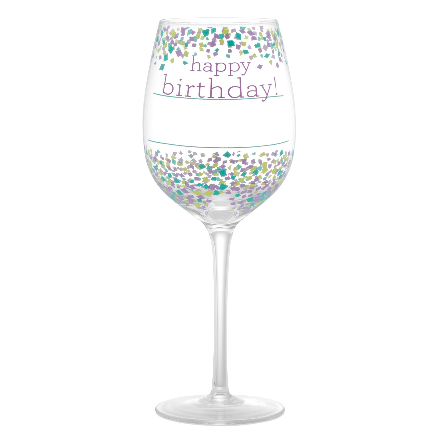 Happy Birthday Confetti Wine Glass