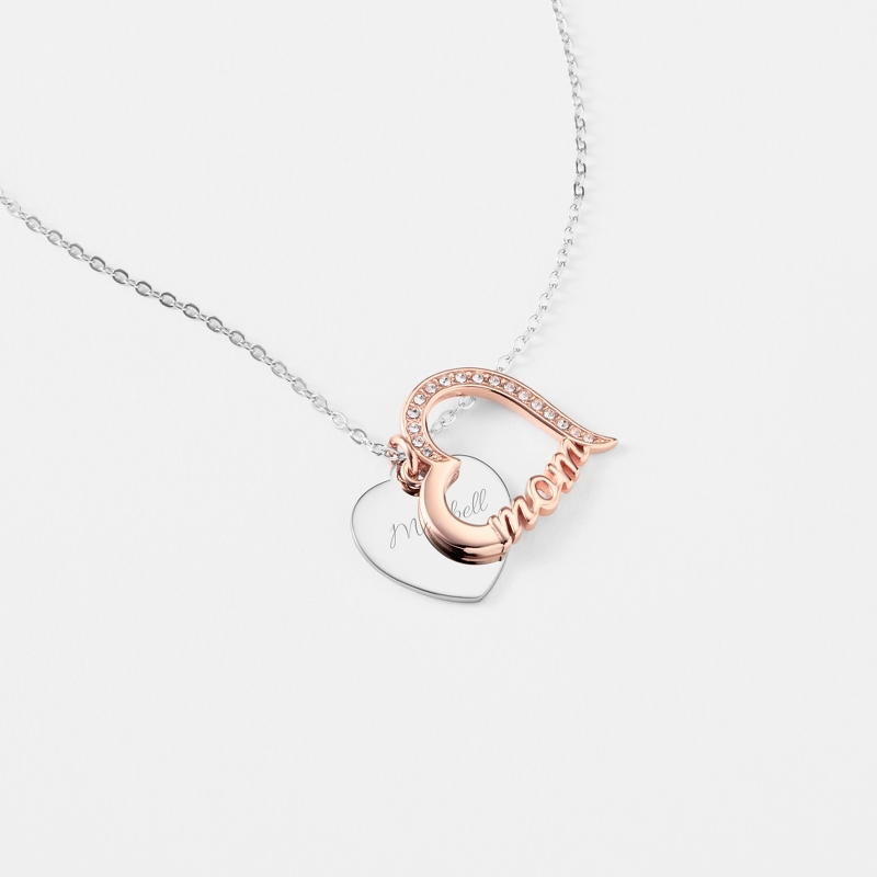 Rose Gold Sterling Silver Mom Heart Necklace