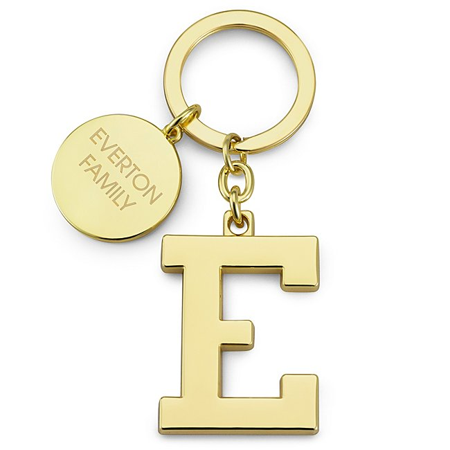 Gold Initial E Key Chain...