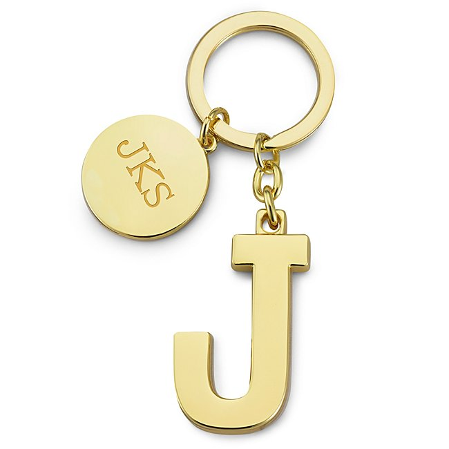 Gold Initial J Key Chain...