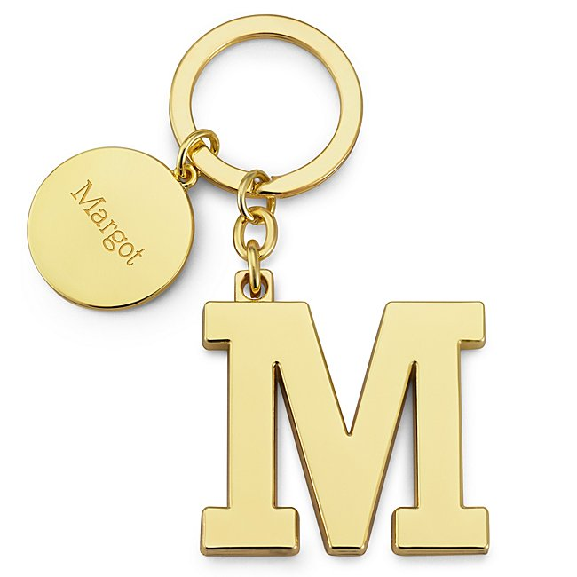 Gold Initial M Key Chain...