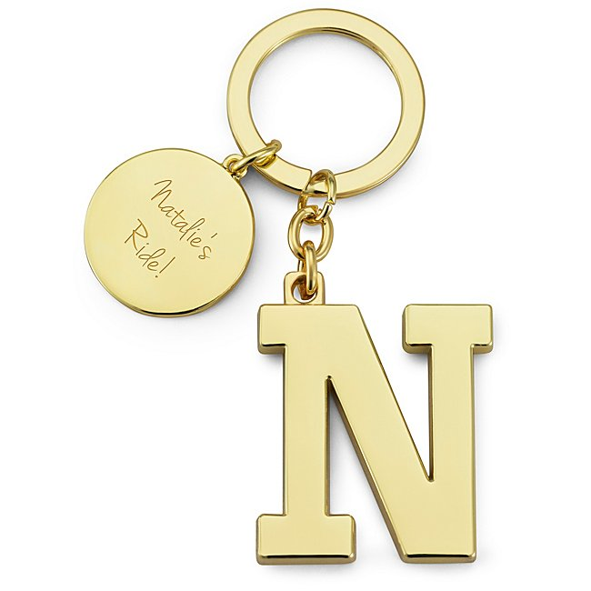 Gold Initial N Key Chain...