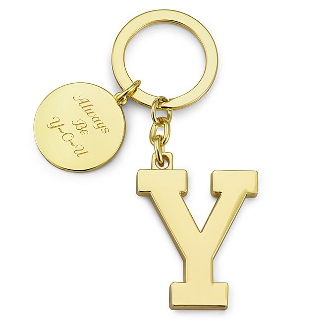 Gold Initial Y Key Chain...