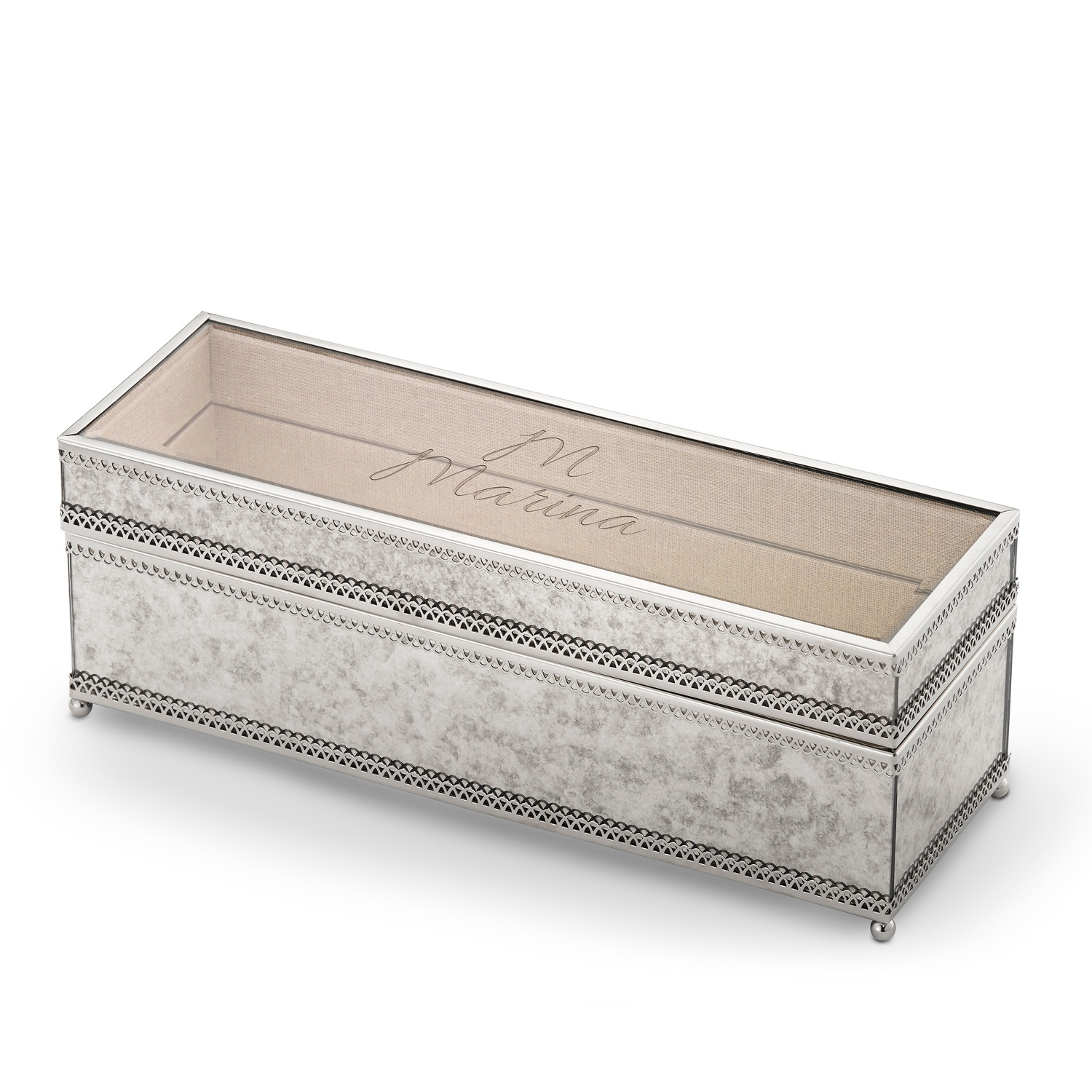 Marble and silver glass jewelry box for Things remembered jewelry box