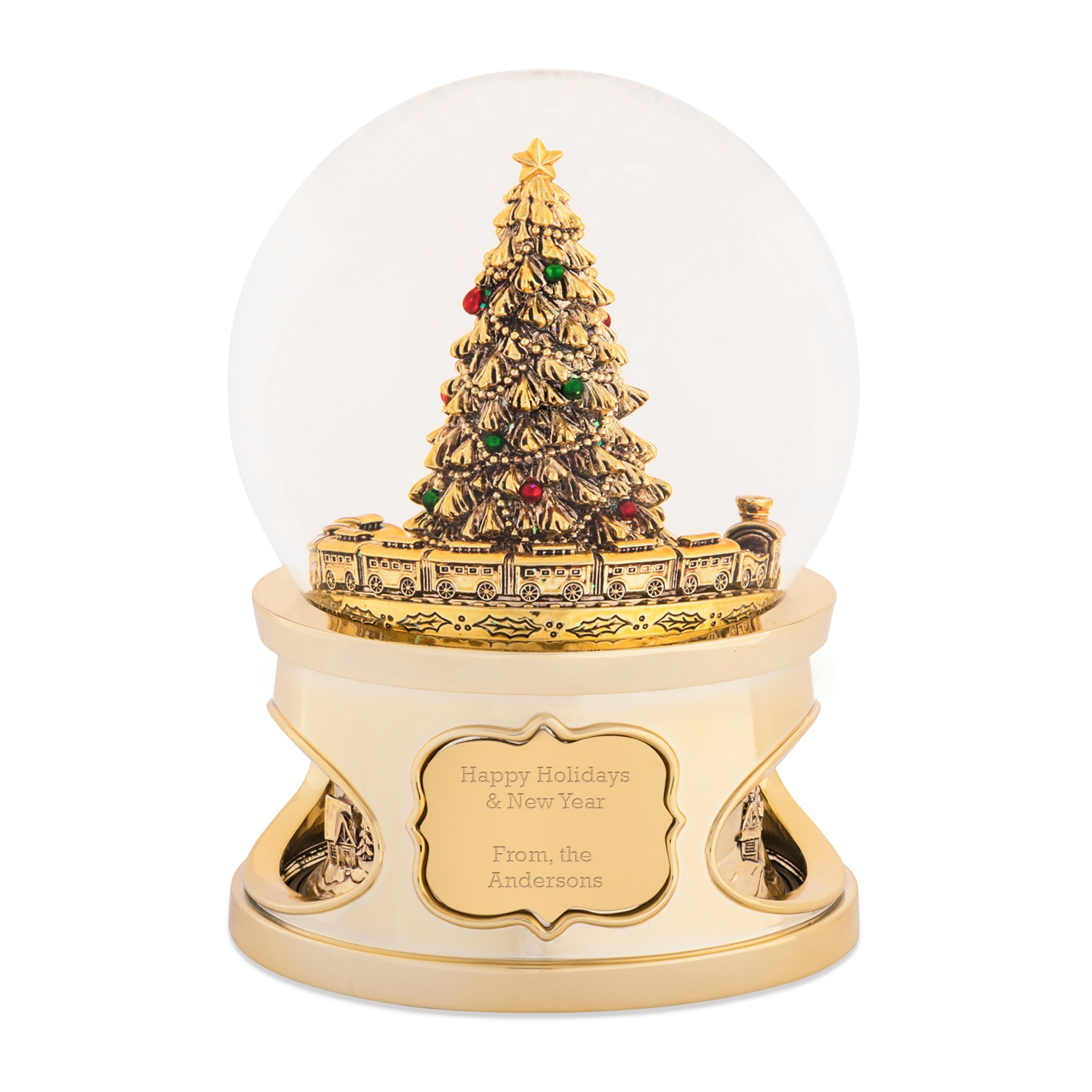 gold tree and train musical snow globe - Christmas Musical Snow Globes