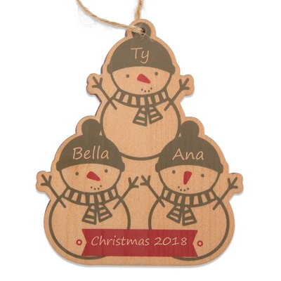 3 Snowman Wood Family Ornament